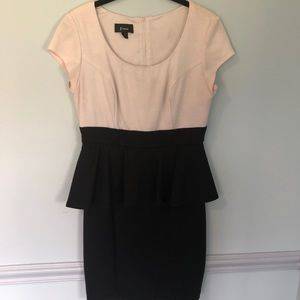 Black and White Slim Fit Short Sleeve Dress
